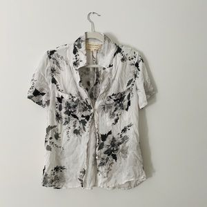 Cloth and Stone Grey Floral Sheer Button Up Tee